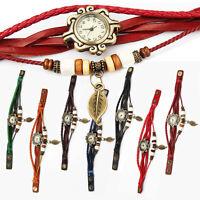 USA Women Vintage Charm Fashion Leaf  Bracelet Faux Leather Quartz Wrist Watch