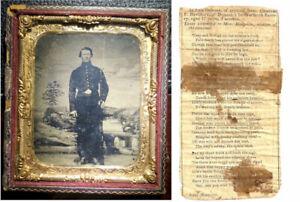 Civil War Soldier Photo Tintype Memorabilia w/Obituary