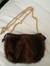 MINK & LEATHER crossbody purse by  PAOLO MASI  made in Italy