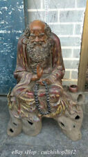 "28"" Antique Chinese Wucai Porcelain Damo Bodhidharma Dharma Buddha Statue figure"