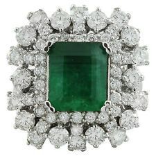 6.66 Carat Natural Emerald and Diamond 14K White Gold Engagement Ring