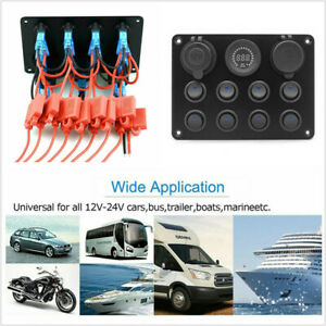 8 Gang Switch Panel Digital Voltmeter Rocker Switch Dual USB Fit For RV Car Boat