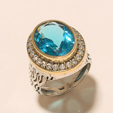 9.60Gm Ring Size 9 Blue Topaz Stone Ring 925 Solid Sterling Silver Two Tone T639