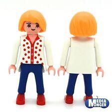 Playmobil Casa De Muñecas Figura: Moderno Mujer En Blanco Rojo Blusa Azul