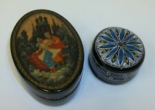2 Vintage Black Lacquer Small Decorated Trinket Boxes