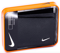 NIKE Men's Bifold Passcase Pebbled Leather Wallet Black Billfold $60.75 MSRP