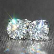 4Ct Round Moissanite Screw Back Solitaire Stud Earrings 14K White Gold Finish