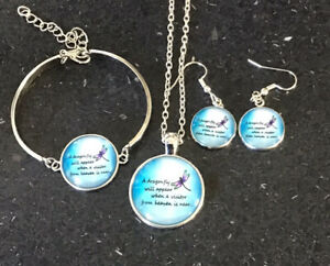 Dragon Fly Quote Cabochon Jewellery Set. Includes Necklace, Bracelet,earrings