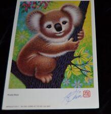 "Vtg Lithograph Print signed Artist K. CHIN Card Stock 8.5"" x 5 3/4"" KOALA BEAR"