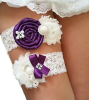 Wedding Garter Set Eggplant Purple Ivory Chiffon Flowers w/ PEARL RHINESTONE BOW