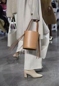 Mansur Gavriel Fringe Bucket Top Handle BROWN Leather Bag Tote BNWT