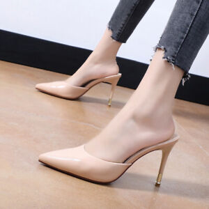Summer Women Mules Sliders High Stiletto Heels Pointed Toe Sandals Slip On Shoes