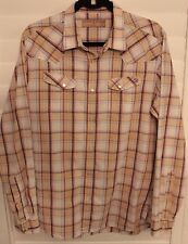 Bakers Dozen by Ted Baker Mens Medium Plaid Pearl Snap Button Front L/S Shirt