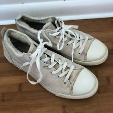 UGG EVERA WOMEN'S SIZE 9.5 BEIGE CANVAS SUEDE LACE UP FUR LINED SHOES