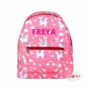 Personalised unicorn pink kids backpack, nursery bag, school bag