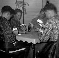 "SQ267 Original photo NEGATIVE 2 1/4"" 1950s ? teens playing cards coke bottle"