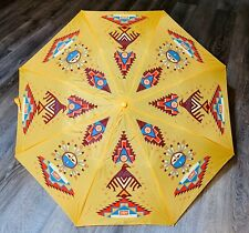 Native American Indian Kachina Thunderbird Symbols Umbrella Yellow NWOT Gorgeous