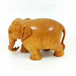 Elephant Hand Carved Fine Wooden Idol / Statue Home Décor Showpiece Gift #UK120