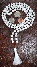 108 Howlite Hand Knotted Chakra Mala Beads Yoga Nirvana Necklace - Energized