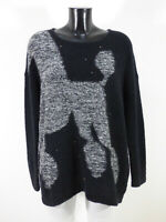 LUISA CERANO Damen Pullover Gr 38 DE / Grau Schwarz Motiv Neuwertig ( R 2449 )