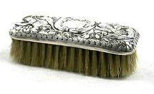 Antique Victorian Sterling Silver Nail Brush Birds Foliate Ornament London 1889