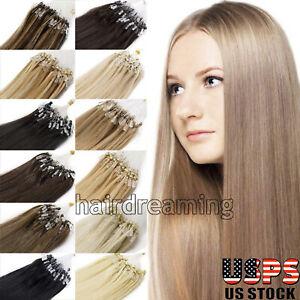Premium Micro Ring Beads Loop Tip Hair Extensions Micro Link Real RemyHuman Hair