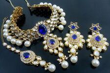 BLUE KUNDAN CZ PEARL GOLD TONE INDIAN TRADITIONAL CHOKER NECKLACE SET JEWELRY