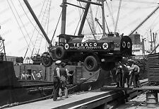 8x10 Print Texico Gas Truck Off Loading From Transport Ship 1920's #875
