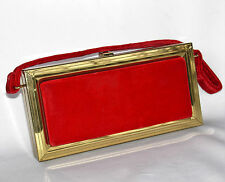 Red Velvet Box Purse Vintage 1960s Handbag Metal Frame Case Mad Men