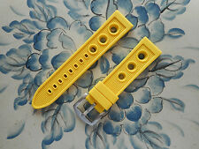 NEW 20MM Yellow Pilot Racing ,3 Big Holes Watch Rubber, Solid Buckle Fits ALL