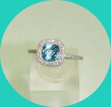 Beautiful 14k White Gold Topaz & Diamond Ring-- Size 7.75