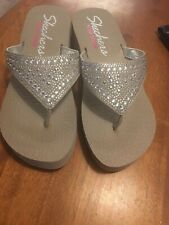 Skechers Sandals Cali Vinyasa Bindu Flip Flop T silver rhinestone Taupe 9 M