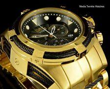 New Invicta 52MM Bolt ZEUS Swiss Quartz Gold Tone Black Dial Bracelet Watch