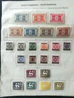 WURTTEMBERG 1916-1920: GOVERNMENT SERVICE, 23 STAMPS, 3 SERIES MH