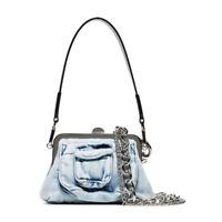 Mini Denim Shoulder Bag Chunky Metal Chain Wide Strap Clutch Bag Crossbody Purse