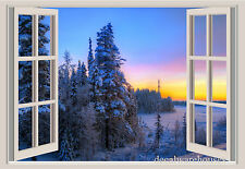 Trees Mountains Snow Window View Repositionable Color Wall Sticker Wall Mural