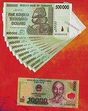 10 X 500 Thousand 000 Zimbabwe Dollars 1 Vietnam Dong Banknotes