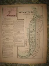 Antique 1874 Freemansburg Middletown Northampton County Pennsylvania Handclr Map