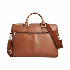 $500 Perry Ellis Mens BROWN LEATHER SHOULDER MESSENGER WORK SCHOOL BRIEFCASE BAG