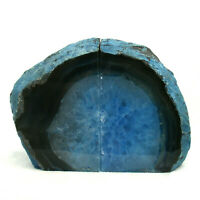 Blue Agate Bookend Set Large Polished Geode with Quartz Crystal 1.5kg 15cm