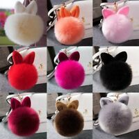 Rabbit Fur Pom-pom Keychain Bag Charm Fluffy Puff Ball Key Ring Car Pendant #am8