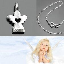 moderner Schutz Engel mit Herz und Zirkonia Steinen mit Kette Echt Silber 925