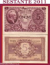 ITALIA,  ITALY  5 LIRE LUOGOTENENZA 23.11. 1944  P. 31a, VENTURA S. G. FDS /UNC