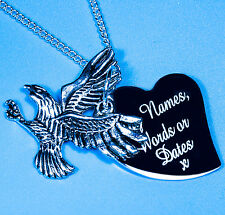 Personalised Farm Eagle Free Name Engraving Charm Pendant Necklace Boy Gift