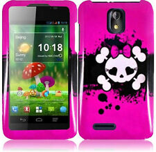 For Cricket ZTE Engage LT N8000 HARD Protector Snap Case Phone Cover Pink Skull
