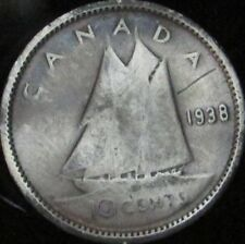 1938 VG Canada Silver 10 Cents - KM# 37 - Free Shipping - JG
