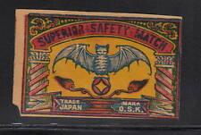 Ancienne étiquette Allumettes Japon  16069  Chauffe souris