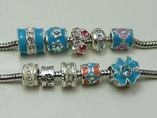 10 Assorted Alloy Rhinestone European Big Hole Beads Fit Charm Bracelets