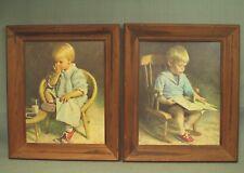 2 vintage prints wood picture frames Little Girl Milk & cookies boy reading book