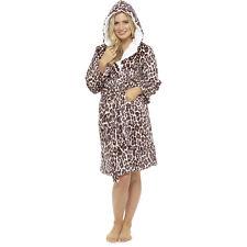 Ladies Womens Luxury Hooded Fleece Bath Robe Dressing Gown Pyjamas Lounge Wear Animal Zebra Print Small Size 8-10